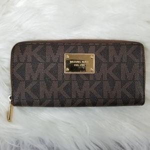 MICHAEL KORS Monogram Zip Wallet Gold Interior